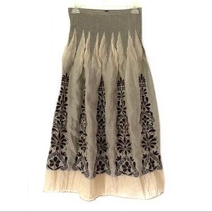 Lapis One Size Brown Floral Sequin Peasant Skirt